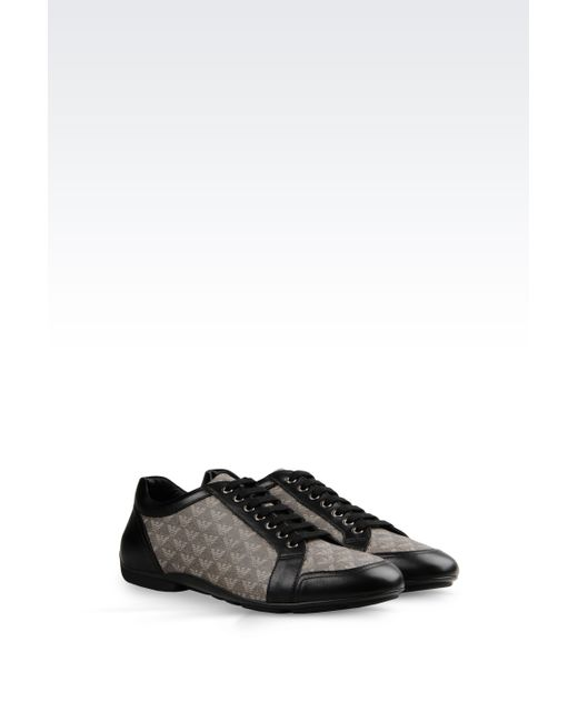 Emporio Armani | Gray Sneaker In Napa Leather And Logo Patterned Pvc for Men | Lyst