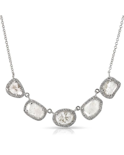 Anne Sisteron - Metallic 14kt White Gold 5 Diamond Slice Princess Necklace - Lyst