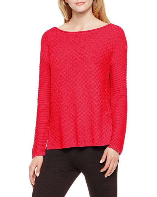 Vince Camuto | Red Basket Weave & Rib Knit Sweater | Lyst