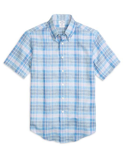 Brooks Brothers | Blue Madison Fit Plaid Linen Short-sleeve Sport Shirt for Men | Lyst