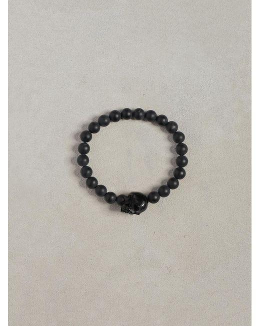 John Varvatos | Black Onyx Skull Bracelet for Men | Lyst