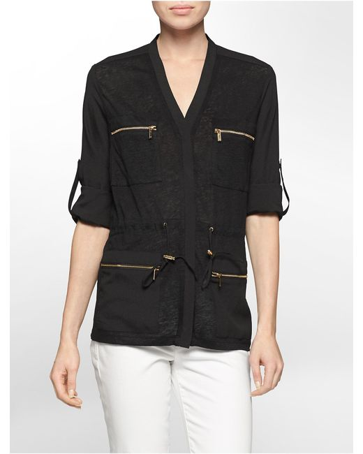 Calvin Klein | Black Linen Slub Zip Detail Roll-up Sleeve Camp Jacket | Lyst
