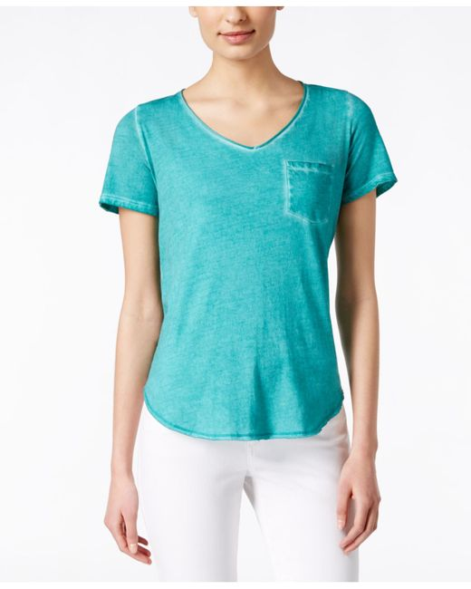 Calvin Klein Jeans Distressed V Neck T Shirt In Teal Teal