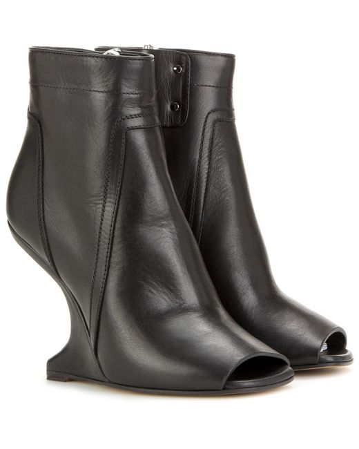 Rick Owens | Black Leather Ankle Boots | Lyst