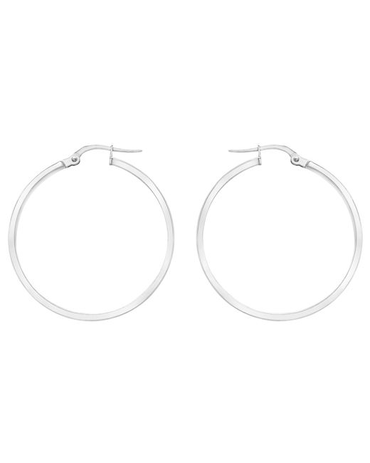 Ib&b | 9ct White Gold Hoop Earrings | Lyst