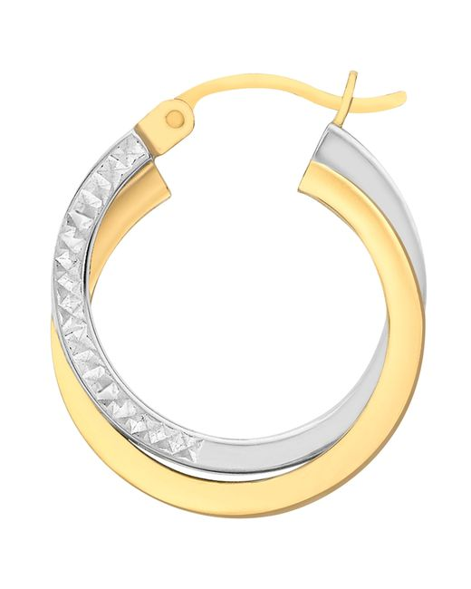 Ib&b   Metallic 9ct Gold Two Tone Diamond-cut Crossover Creole Earrings   Lyst
