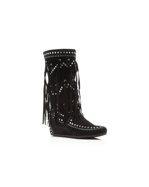 ash suede fringe studded wedge boots in black lyst