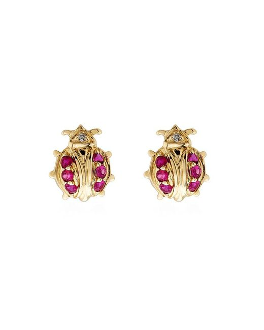 Sydney Evan | Pink Mini Gold And Ruby Ladybug Single Earring | Lyst