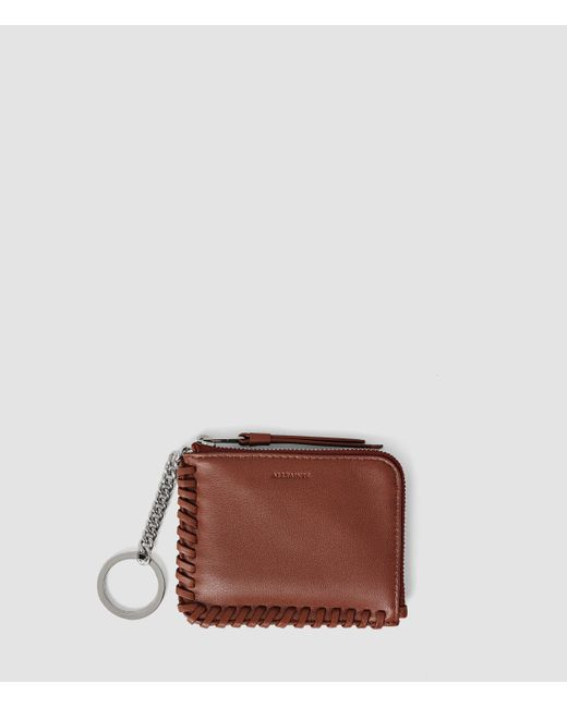 AllSaints | Brown Fleur De Lis Leather Keyfob Coin Purse | Lyst