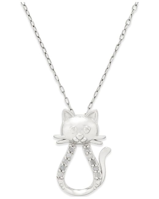 Macy's | Metallic Diamond Cat Pendant Necklace (1/10 Ct. T.w.) In Sterling Silver | Lyst