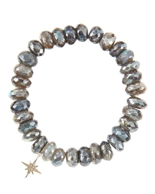 Sydney Evan | Gray 10Mm Mystic Labradorite Beaded Bracelet With 14K Gold/Diamond Small Buddha Charm (Made To Order) | Lyst