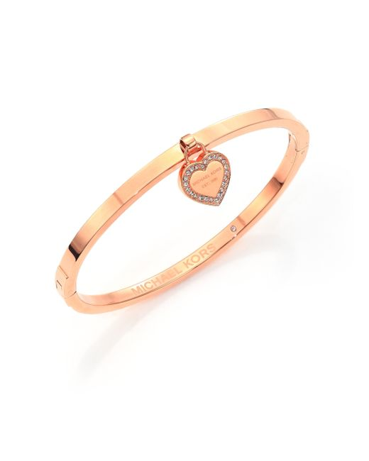Michael Kors | Pink Heritage Logo Heart Charm Bangle Bracelet/rose Goldtone | Lyst
