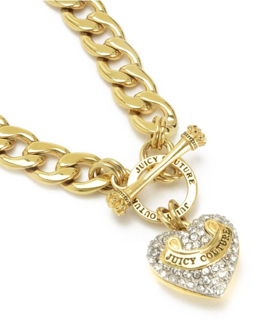 Juicy Couture | Metallic Pave Banner Heart Starter Necklace | Lyst