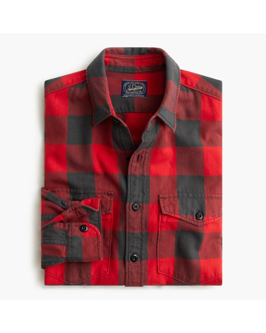J.Crew | Red Herringbone Flannel Shirt In Buffalo Check for Men | Lyst