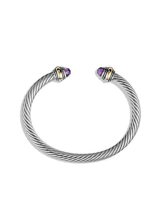David Yurman | Metallic Cable Classic Bracelet With Amethyst And 14k Gold, 5mm | Lyst