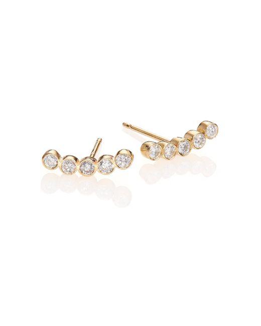 Zoe Chicco | Metallic Diamond & 14k Yellow Gold Five-bezel Stud Earrings | Lyst