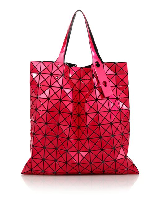 Bao Bao Issey Miyake | Red Prism Basic Metallic Faux Leather Tote | Lyst