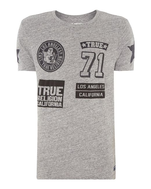 True Religion | Gray Cotton T-shirt for Men | Lyst