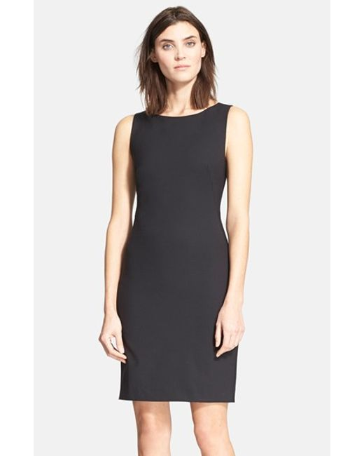 Theory | Black 'Betty.2B' Stretch Wool Sheath Dress | Lyst