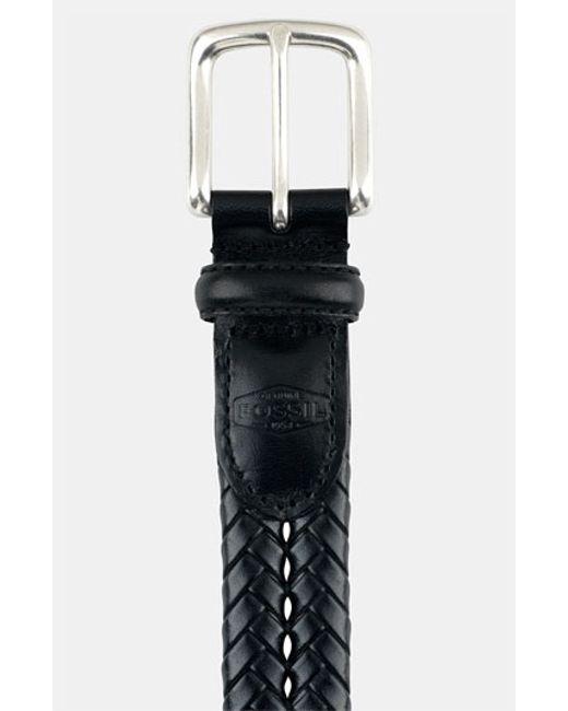 Fossil | Black 'maddox' Leather Braid Belt for Men | Lyst