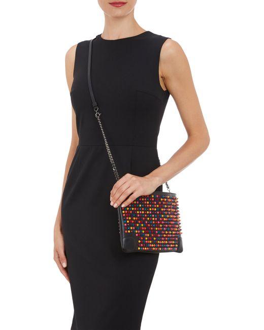 Christian Louboutin   Black Triloubi Large Embellished Suede And Leather Shoulder Bag   Lyst