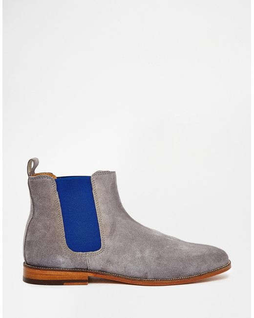 bobbies l horloger suede chelsea boots in gray for
