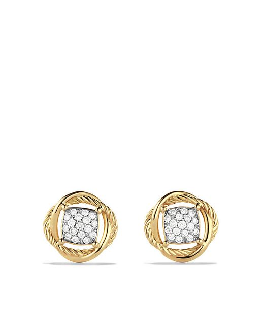 David Yurman | Metallic Infinity Earrings With Diamonds In 18k Gold | Lyst