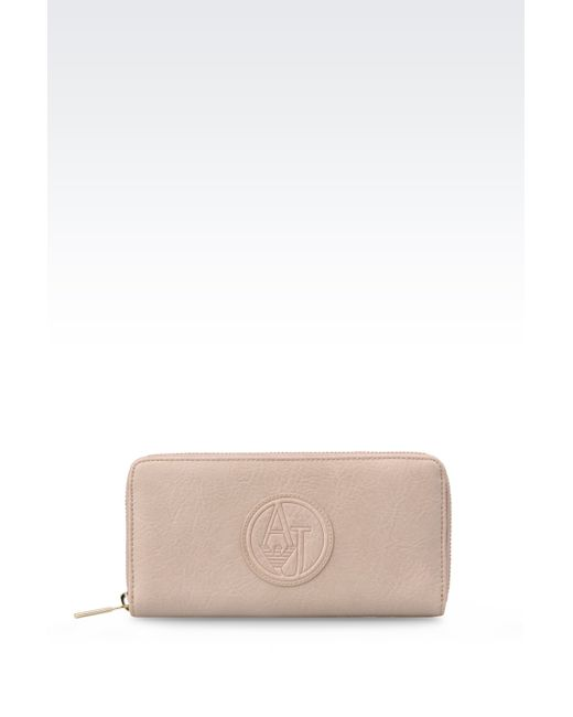 Armani Jeans | Pink Zip-around Wallet In Faux Leather | Lyst