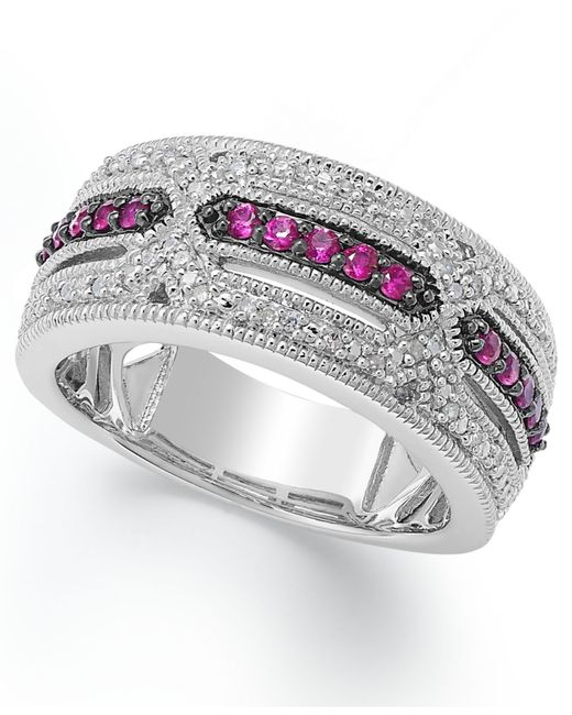 Macy's | Metallic Ruby (1/4 Ct. T.w) And Diamond Accent Band In Sterling Silver | Lyst