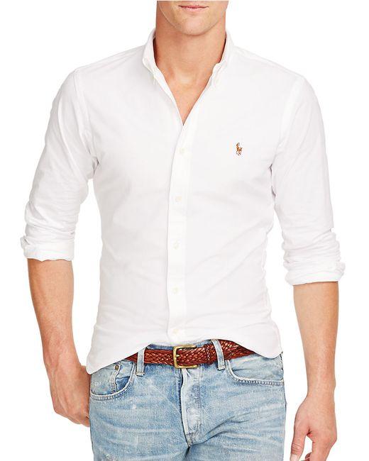 Polo Ralph Lauren | White Slim Fit Stretch-cotton Sportshirt for Men | Lyst