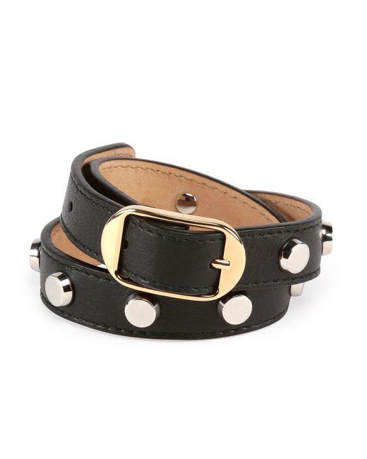 Balenciaga Double Tour Leather Wrap Belt Bracelet in Black ...