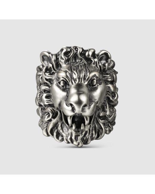 Gucci   Metallic Lion Head Ring   Lyst