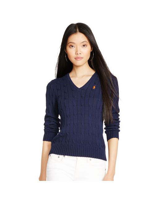 Polo Ralph Lauren | Blue Kimberly V-neck Cable Knit Jumper | Lyst
