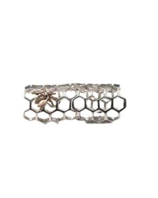 Bernard Delettrez | Metallic Silver Articulated Honey Comb Ring With Bronze Bee | Lyst