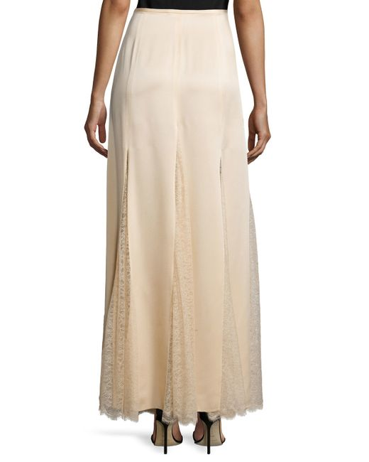 michael kors lace inset godet maxi skirt in save