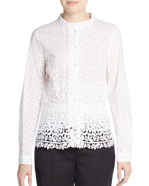 Oscar de la renta eyelet guipure lace shirt in white for Mens eyelet collar dress shirts