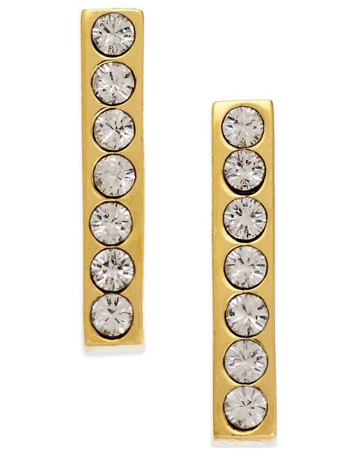 Kate Spade | Metallic 14k Gold-plated Dainty Sparklers Crystal Bar Stud Earrings | Lyst