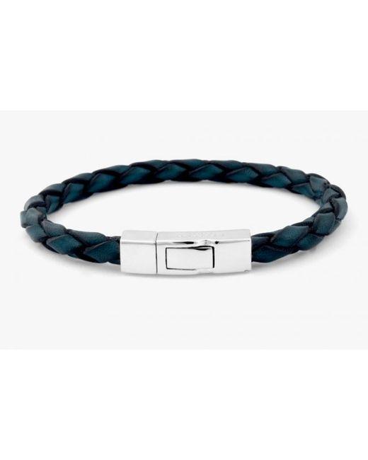 Tateossian | Single Wrap Scoubidou Blue Leather Bracelet With Silver Clasp for Men | Lyst