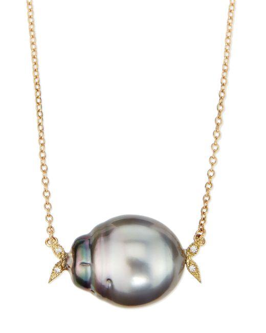 Mizuki | Metallic 14k Gold Diamond Leaf & Black Tahitian Pearl Necklace | Lyst