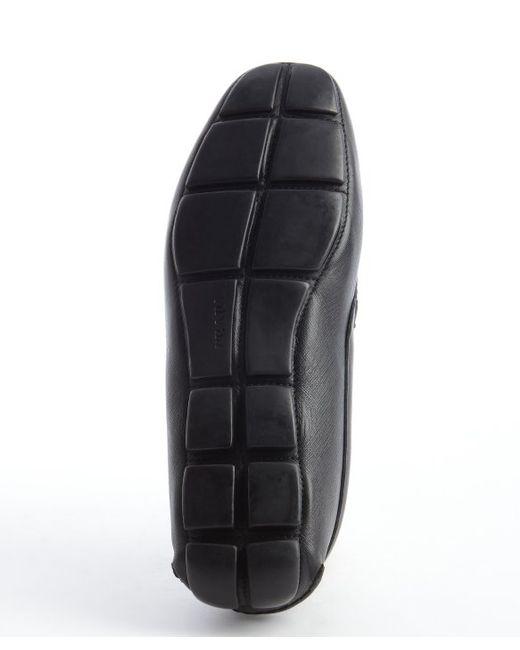 Prada   Black Leather Logo Buckle Slip-on Loafers for Men   Lyst