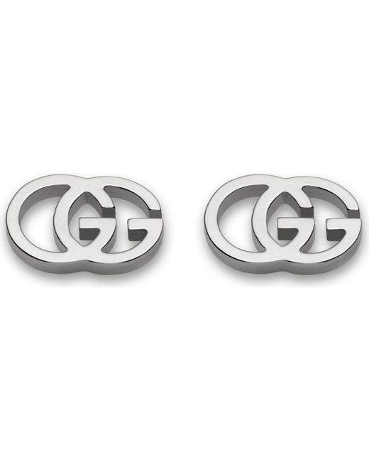 Gucci | Metallic Gg 18ct White-gold Tissue Stud Earrings - For Women | Lyst