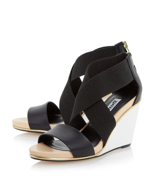 Dune Kaye Crossover Strap Wedge Sandals in Black | Lyst