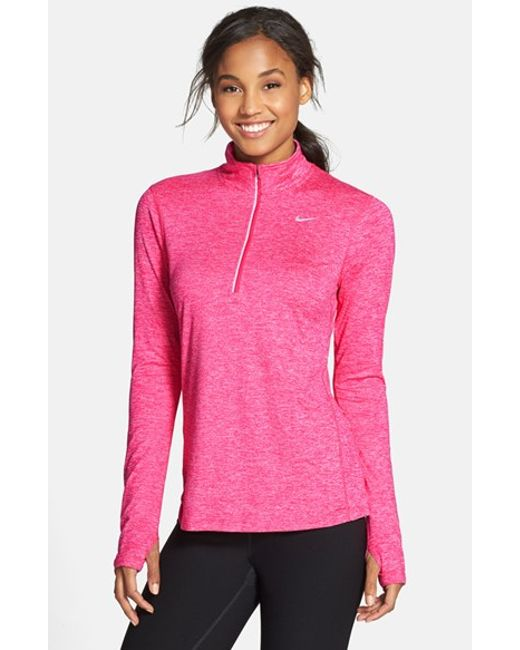Nike | Red 'element' Dri-fit Half Zip Performance Top | Lyst