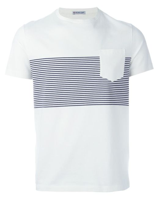 Moncler striped t shirt in white for men lyst for Off white moncler t shirt