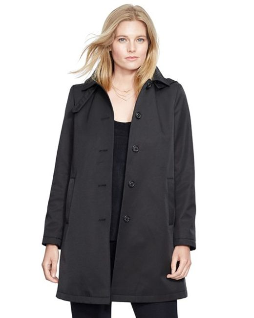 Lauren by Ralph Lauren | Black A-line Coat With Detachable Hood | Lyst