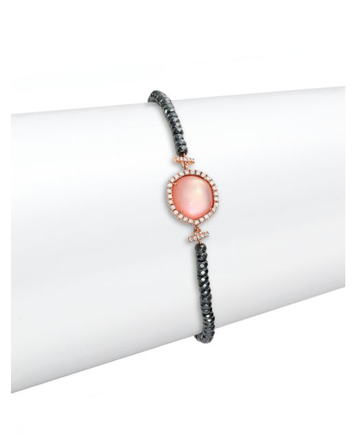 Meira T | Pink Rose Quartz, Mother-of-pearl, Silverite, Diamond & 14k Rose Gold Beaded Bracelet | Lyst