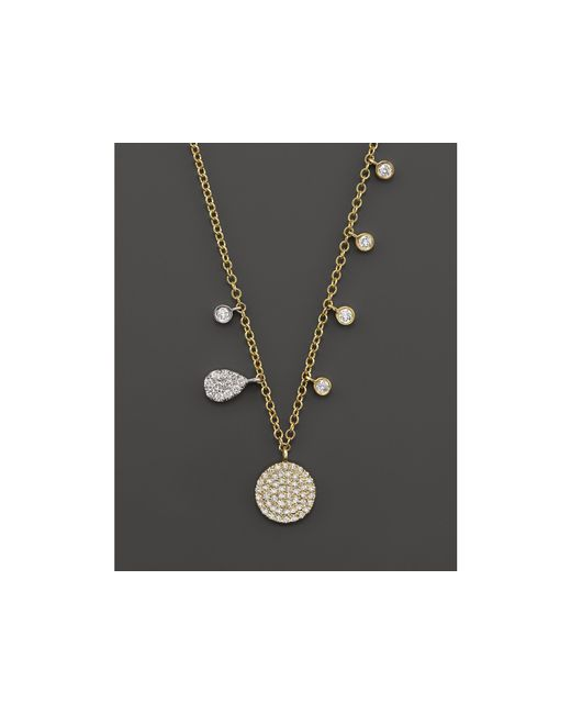 Meira T | Metallic 14k Yellow Gold Disc Necklace With Diamonds, 16"