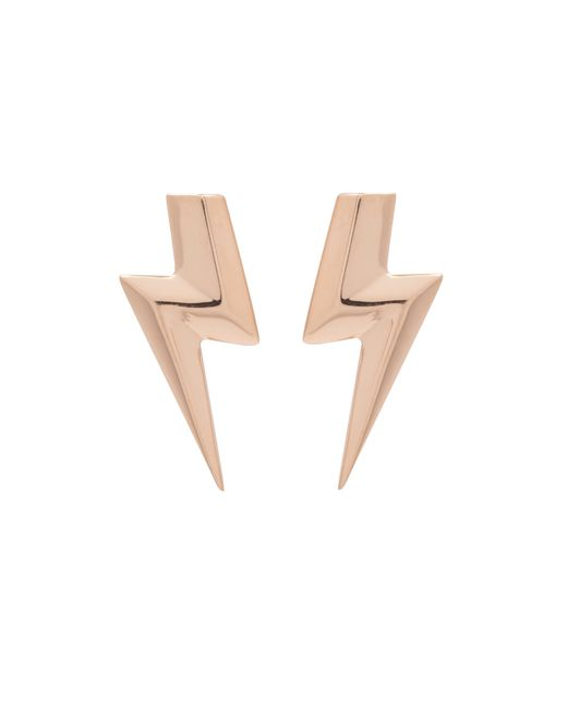 Edge Only   Metallic 3d Flat Top Lightning Bolt Earrings Gold   Lyst
