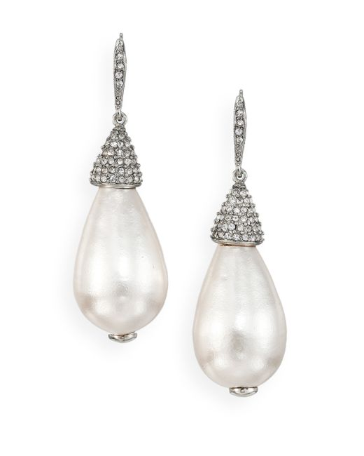 Oscar de la Renta | White Bridal Faux Pearl & Crystal Teardrop Earrings | Lyst