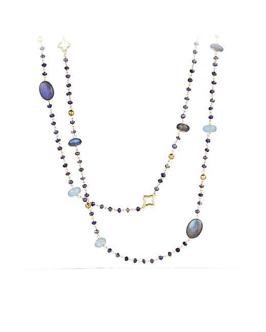 David Yurman | Yellow Bijoux Bead Necklace With Labradorite And Milky Aquamarine In 18k Gold | Lyst